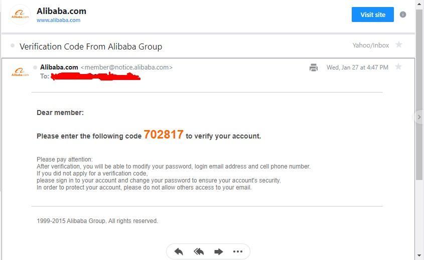 mã xác nhận 6 chữ số Alibaba